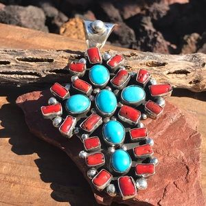 Jewelry - Chimney Butte Sterling Coral Turquoise Cross